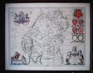 17th century Map of Westmorland by John Blaue
