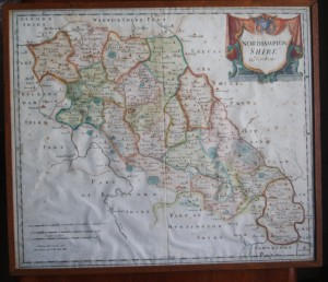 17th century Map of Northamptonshire by Robert Morden