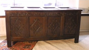 A fine Charles II, 4-pannelled, carved oak coffer/chest