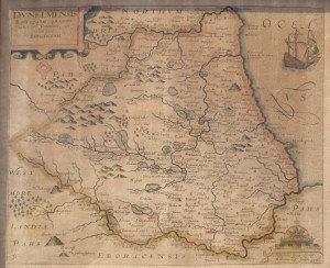 17th century Map of Durham by Christopher Saxton