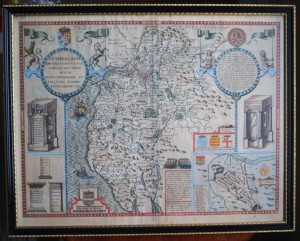17th century Map of Cumberland by John Speed with text al verso